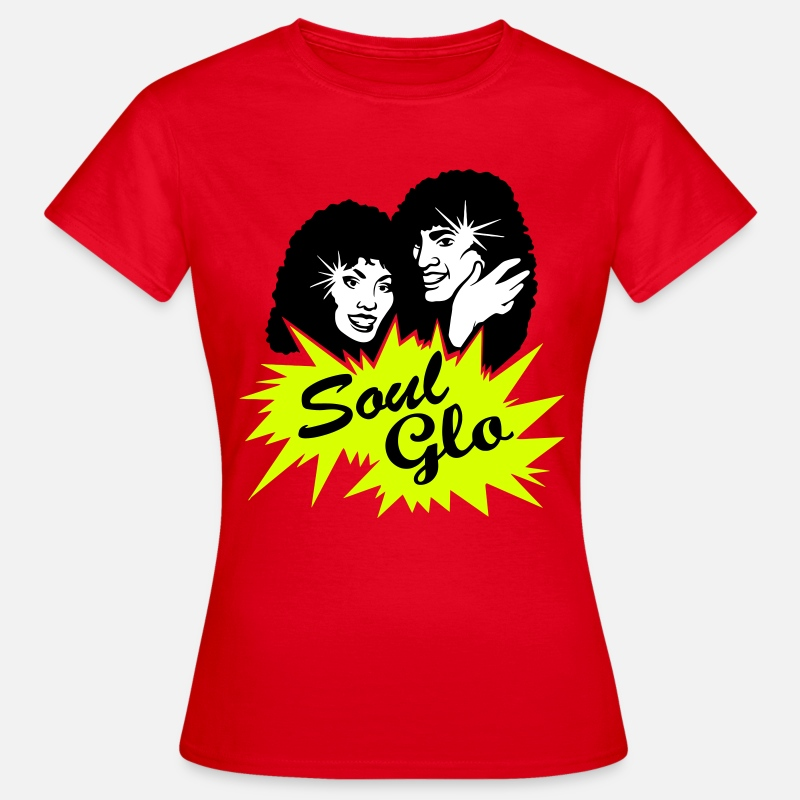 "Afro T-shirts - ""Soul Glo"" Afro Funk & Disco - T-shirt Femme rouge"