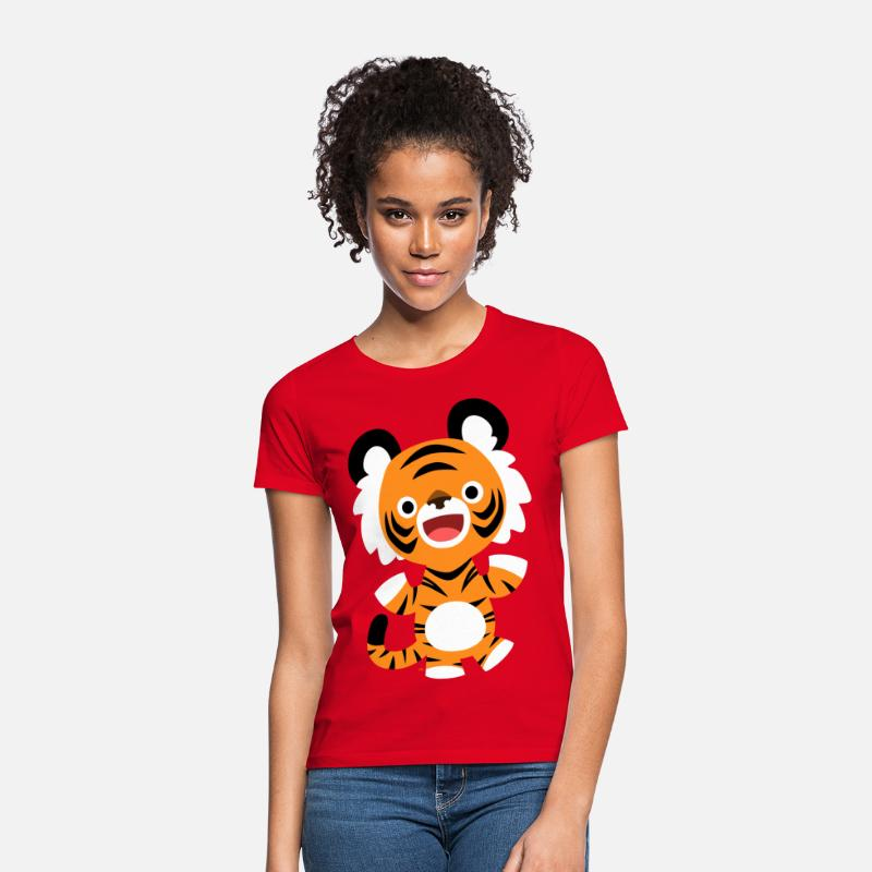 2010 T-Shirts - Cute Merry Cartoon Tiger by Cheerful Madness!! - Women's T-Shirt red