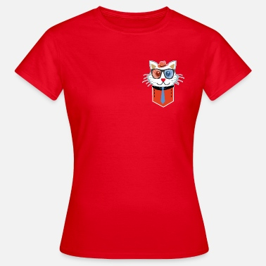 Carácter Pocket Character Cute Cat Glasses Hat - Camiseta mujer