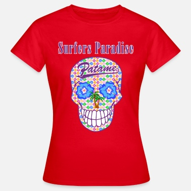 Surf Pirate Patame Surfers Paradise Skull Violet - T-shirt Femme