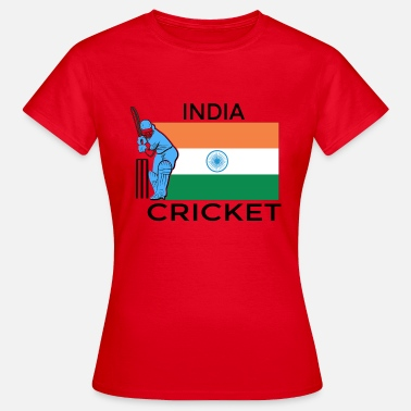 Gærdespiller Indien Cricket Player Flag - Dame-T-shirt