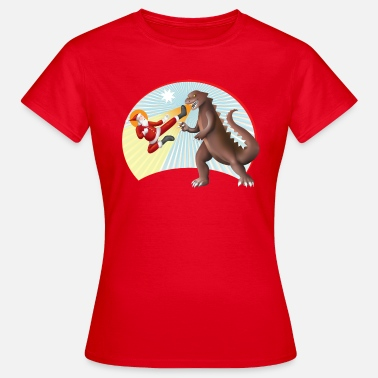 Santa Claus VS Dinosaur - Women's T-Shirt