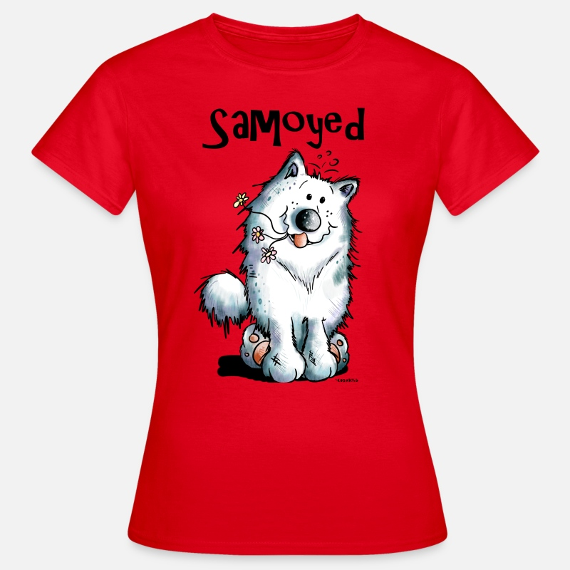 Dier T-Shirts - Grappige Samojeed - Vrouwen T-shirt rood