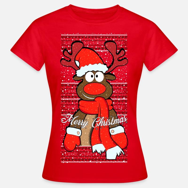 renne de noel free t shirt femme spreadshirt. Black Bedroom Furniture Sets. Home Design Ideas