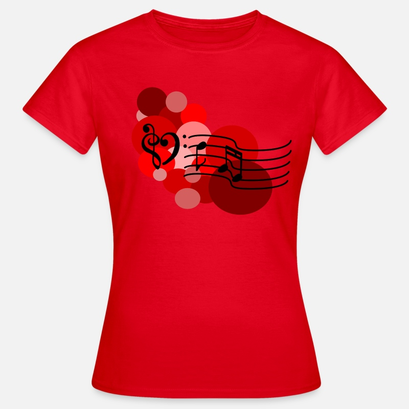 Classical Music T-Shirts - Red Music notes and polka dots T-Shirts - Women's T-Shirt red