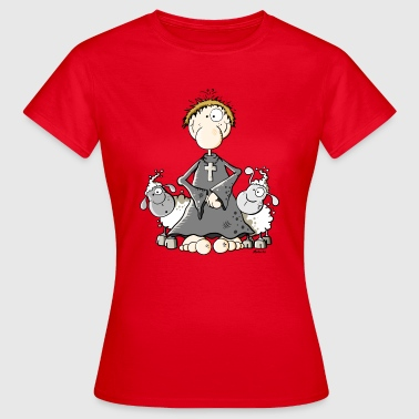 Catholic Priest Funny Pastor with sheep - Women's T-Shirt