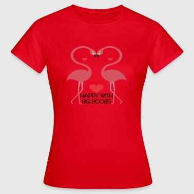 Seine Zoo seins Sex tits boobs chance amour coeur Flamingo - T-shirt Femme