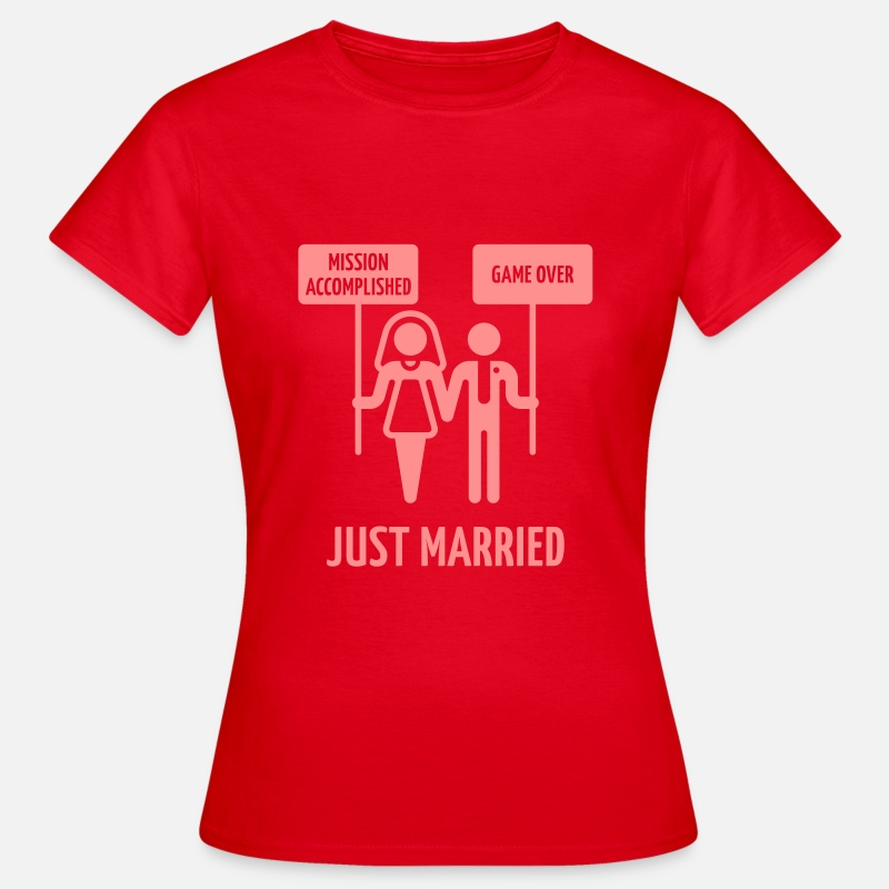 Wedding Camisetas - Just Married – Mission Accomplished – Game Over - Camiseta mujer rojo