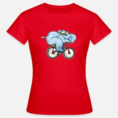 Muscle Zoo The Hippo rides a bike - Women's T-Shirt