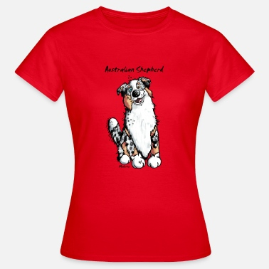 Australian Shepherd Cartoon Happy Australian Shepherd - Women's T-Shirt