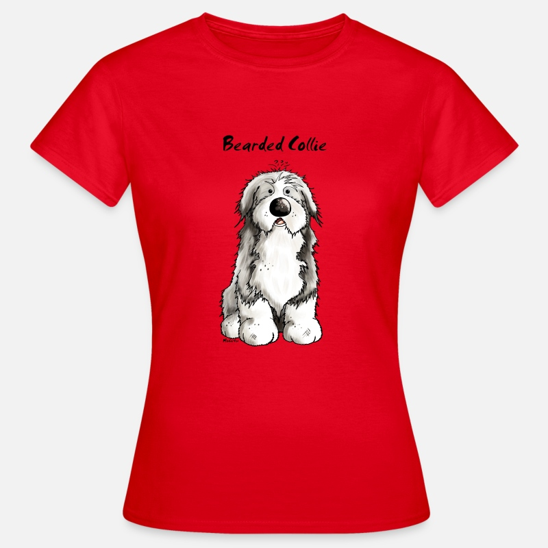 Chien T-shirts - Mignon Bearded Collie -  Colley Barbu - T-shirt Femme rouge