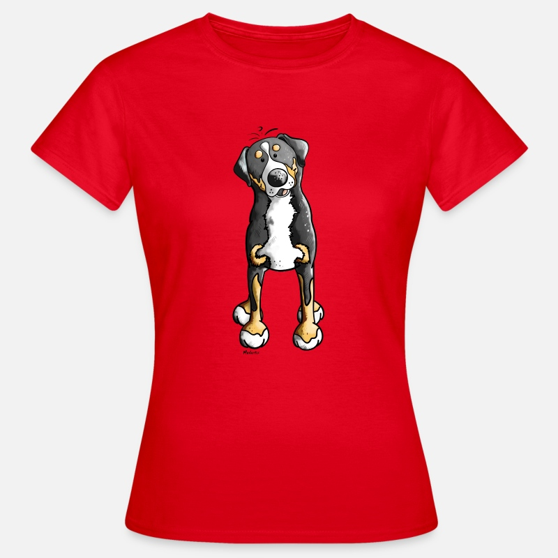 Grappige T-Shirts - Grote Zwitserse Sennenhond - Hond - Honden - Vrouwen T-shirt rood