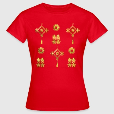 Gold Lucky Chinese Symbol - Women's T-Shirt