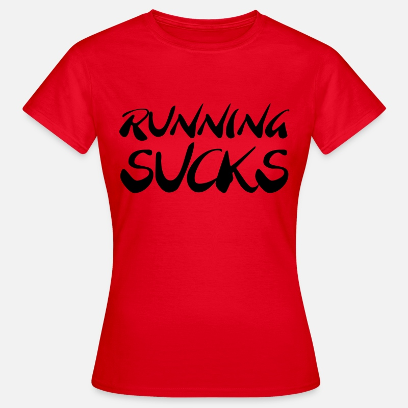 Cross Fit Camisetas - Running sucks - Camiseta mujer rojo