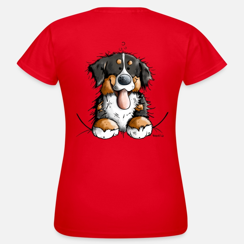Lover T-Shirts - Happy Bernese Mountain Dog - Women's T-Shirt red