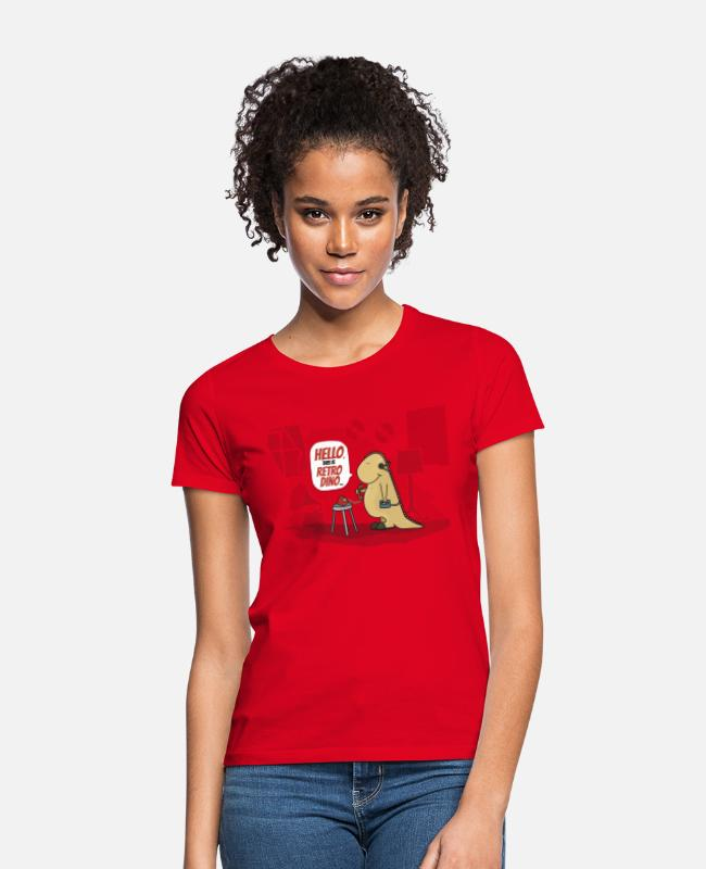 Gramophone T-Shirts - hello, this is retro dino - Women's T-Shirt red