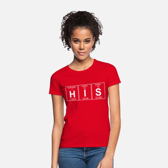Couples T-Shirts - H-I-S (his) - Full - Women's T-Shirt red