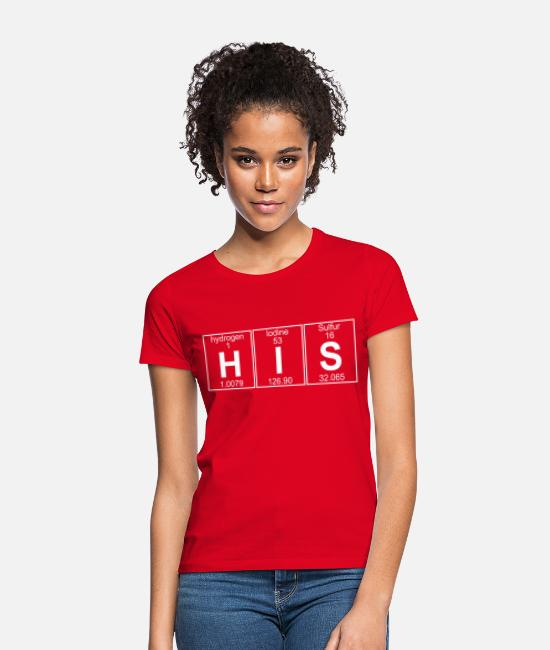 Periodic Table T-Shirts - H-I-S (his) - Full - Women's T-Shirt red
