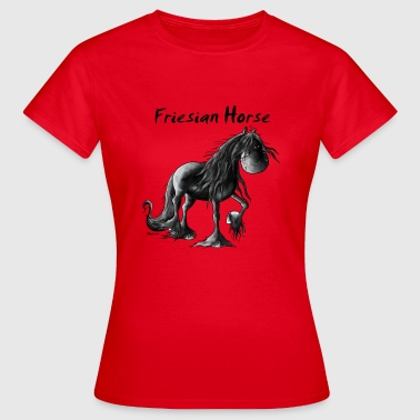 Funny Friesian Horse Cartoon - Women's T-Shirt