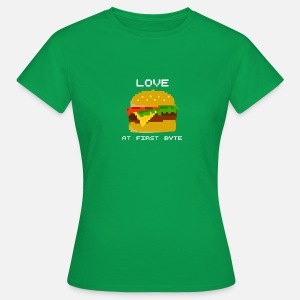 Love At First Byte Burger Pixelart Helle Schrift Frauen Premium