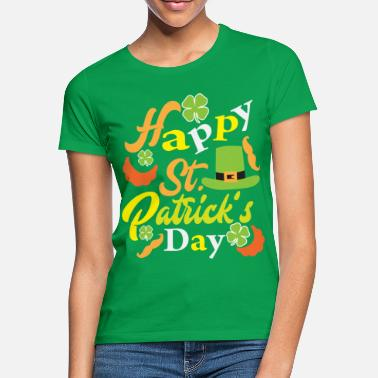 St St Patrick's Day with beard, green hat and - Women's T-Shirt