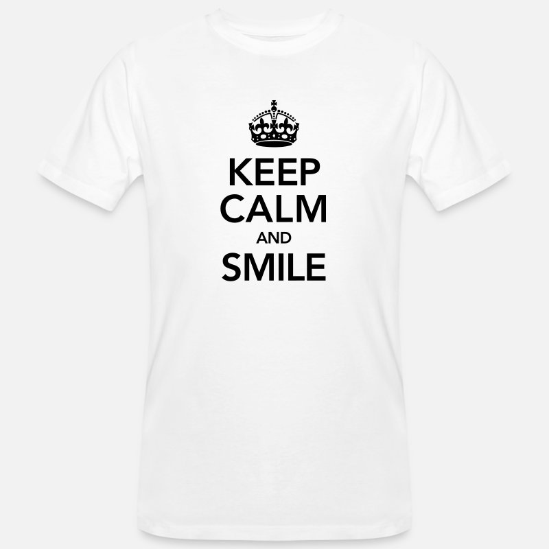 Flirt T-Shirts - Keep Calm And Smile - Men's Organic T-Shirt white