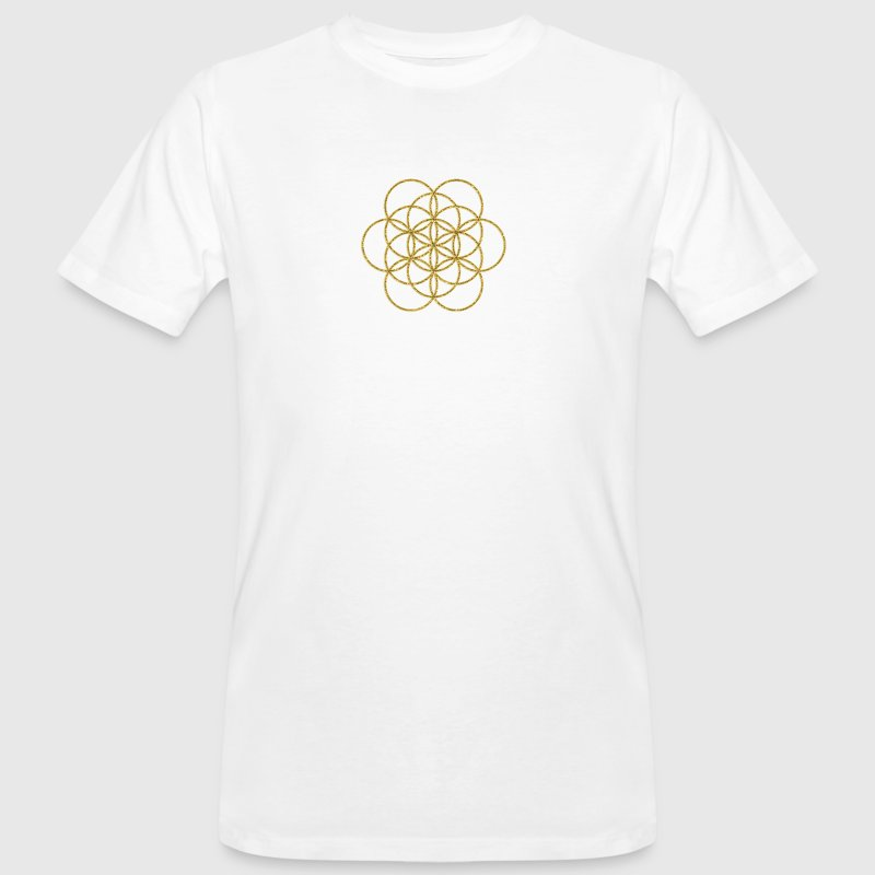 Feel the Harmony! EGG OF LIFE, digital, gold, sacred geometry, energy, symbol, powerful, icon, - Men's Organic T-shirt