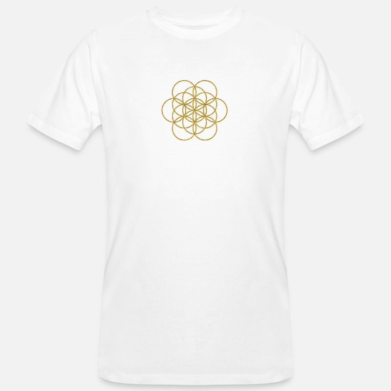Cube T-Shirts - Feel the Harmony! EGG OF LIFE, digital, gold, sacred geometry, energy, symbol, powerful, icon, - Men's Organic T-Shirt white