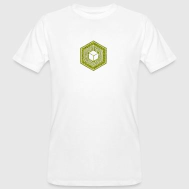 Agroglyphe, TESSERACT, Hypercube 4D, Crop Circle, 17th July 2010, Fosbury, Wiltshire, Symbol - Dimensional Shift - T-shirt bio Homme