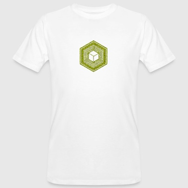 Wiltshire Crop Circle, TESSERACT, Hypercube 4D, 17th July 2010, Fosbury, Wiltshire, Symbol - Dimensional Shift - T-shirt ecologica da uomo