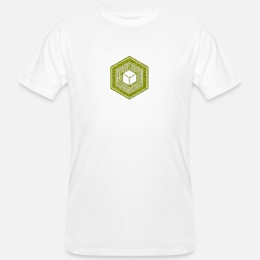 Wiltshire TESSERACT, Hypercube 4D, Crop Circle, 17th July 2010, Fosbury, Wiltshire, Symbol - Dimensional Shift - Men's Organic T-Shirt