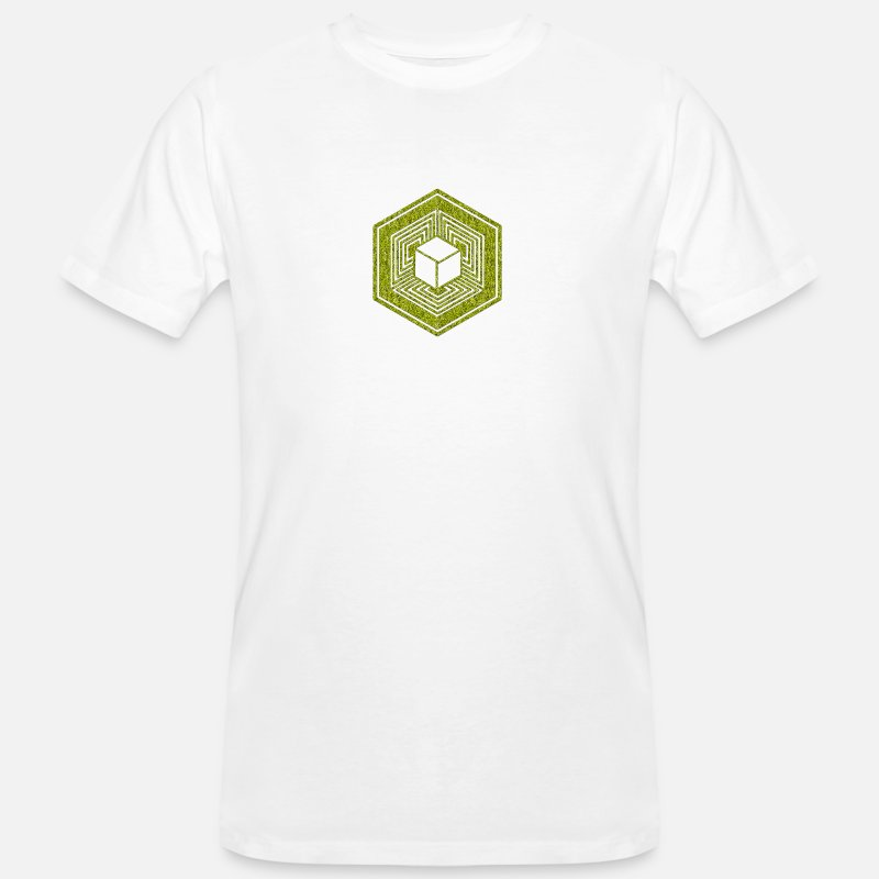 Esoteric T-Shirts - TESSERACT, Hypercube 4D, Crop Circle, 17th July 2010, Fosbury, Wiltshire, Symbol - Dimensional Shift - Men's Organic T-Shirt white