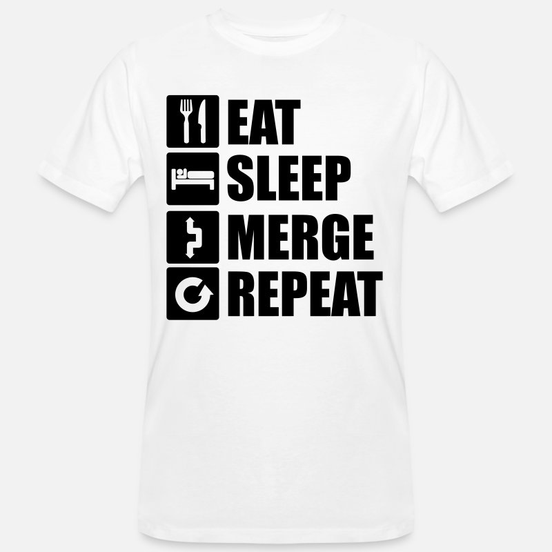Git T-Shirts - Eat sleep merge repeat 1f - Men's Organic T-Shirt white