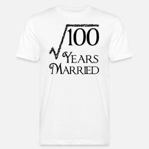 100 years married 10th wedding anniversary men s premium t shirt 100 Year Anniversary Color men s anic t shirt