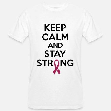 Breast Cancer Month Keep calm and stay strong - Økologisk T-skjorte for menn