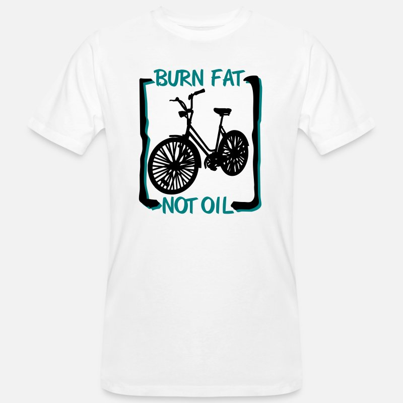 Burn T-Shirts - burn fat, not oil - Mannen bio T-shirt wit