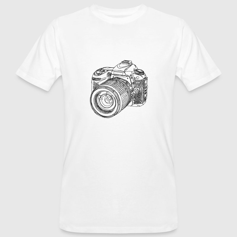 Modern Digital SLR Camera Drawing - T-shirt ecologica da uomo
