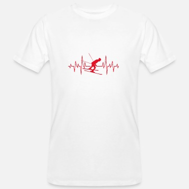 I Love Cross Country Skiing I love cross-country skiing gift heartbeat - Men's Organic T-Shirt