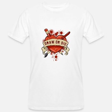 Die Hard Draw or Die Hard Heart Love Art Gift - Men's Organic T-Shirt