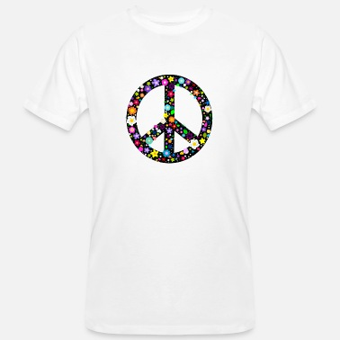 Sixties Symbols Flower Peace Sign Buttons - Men's Organic T-Shirt