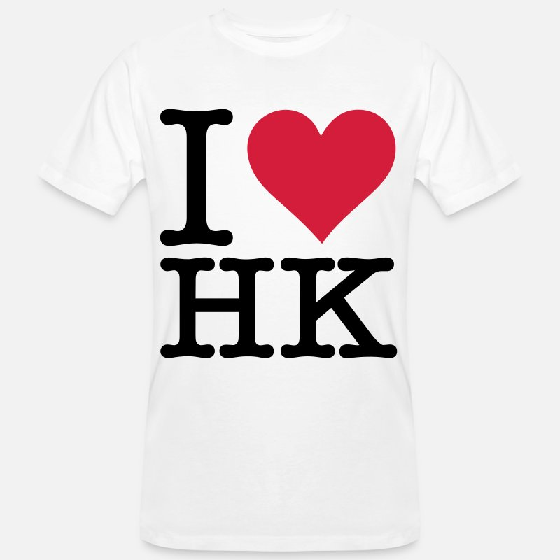 Dense T-Shirts - I Love Hong Kong - Men's Organic T-Shirt white