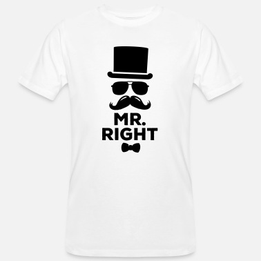 Lustige paarweise Mr. Right und Mrs. Right t-shirts - Männer Bio T-Shirt