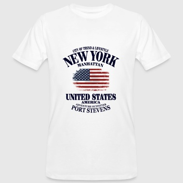 New York  - USA Vintage Flag - Männer Bio-T-Shirt