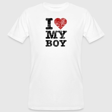 I Love my Boy vintage dark - Männer Bio-T-Shirt