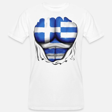 Greece Flag Ripped Muscles, six pack, chest - Men's Organic T-Shirt