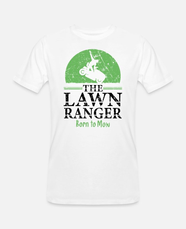 Lawn Ranger T-Shirts - The Lawn Ranger Tractor Mowing - Men's Organic T-Shirt white