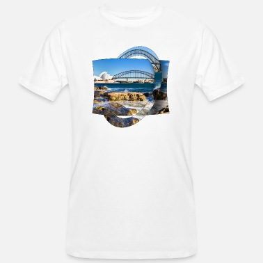 Harbour Australia: Sydney Harbor with Opera and Bridge - Men's Organic T-Shirt