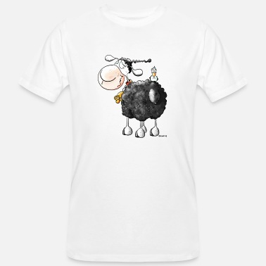 Backside Funny Curly Sheep - Cartoon - Men's Organic T-Shirt