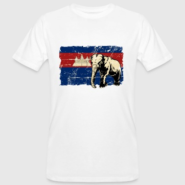 Cambodia - Elephant - Vintage Look  - T-shirt bio Homme