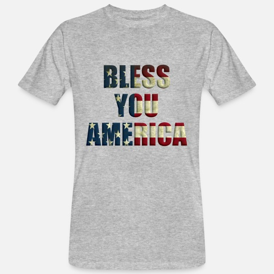 Gift Idea T-Shirts - Bless You America - in National Colors - Men's Organic T-Shirt heather grey